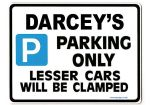 DARCEY'S Personalised Parking Sign Gift | Unique Car Present for Her |  Size Large - Metal faced